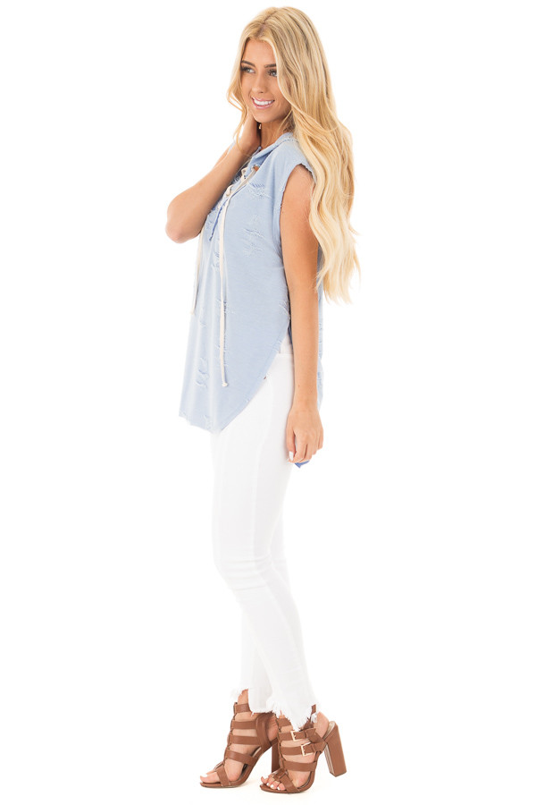 Blue Distressed Sleeveless Lace Up Hoodie side full body