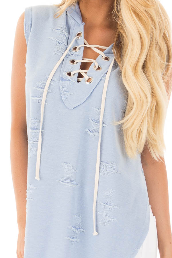 Blue Distressed Sleeveless Lace Up Hoodie detail