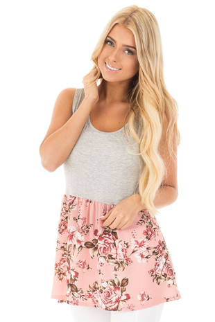 Heather Grey and Blush Floral Print Baby Doll Tank front close up