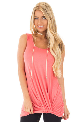 Coral Twist Knot Tunic Tank front close up