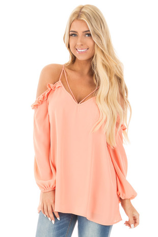 Tangerine Strappy Off Shoulder Top with Ruffle Detail front close up