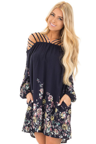 Navy and Floral Dress with Caged Neck and Shoulders front close up