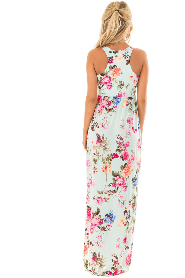 Mint Racerback Floral Maxi Dress with Side Pockets back full body