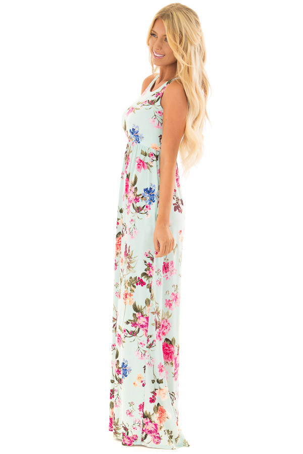 Mint Racerback Floral Maxi Dress with Side Pockets side full body