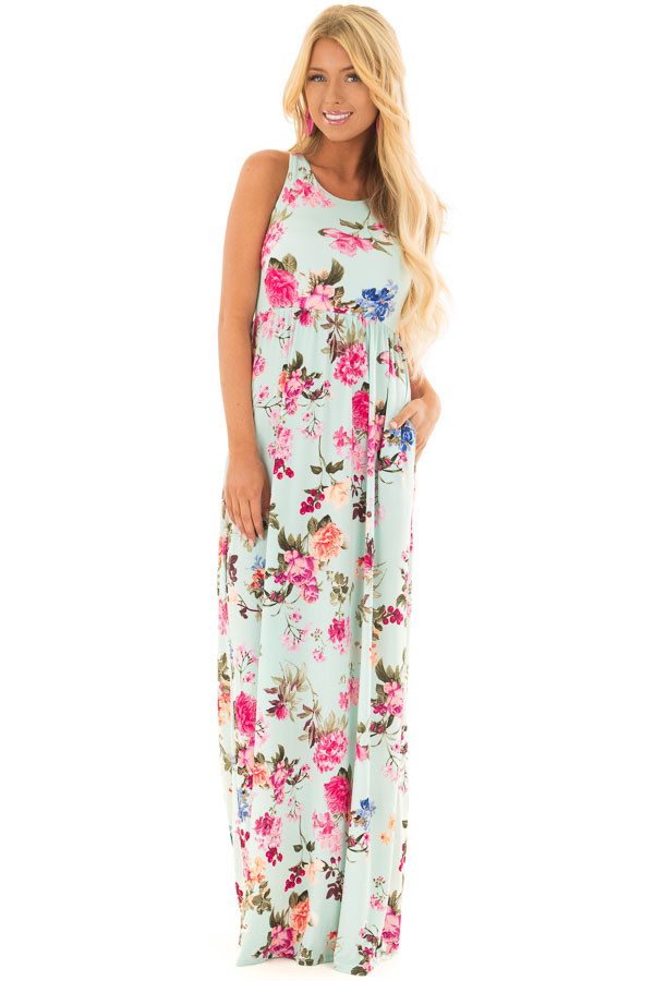 Mint Racerback Floral Maxi Dress with Side Pockets front full body