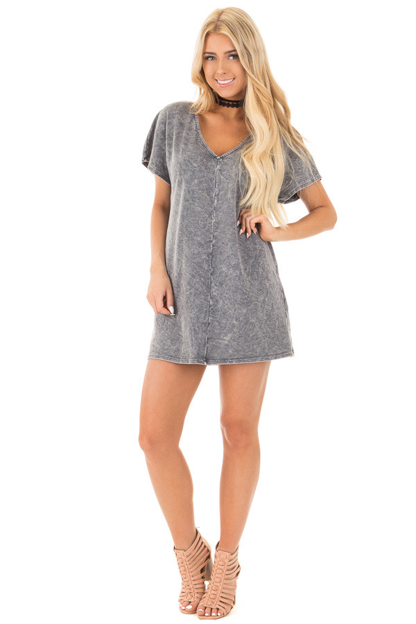 Charcoal V-Neck Loose Fit Mineral Wash Shift Dress front full body