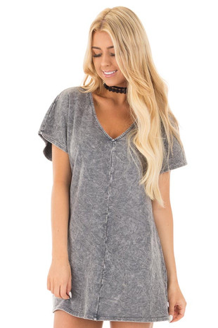 Charcoal V-Neck Loose Fit Mineral Wash Shift Dress front close up