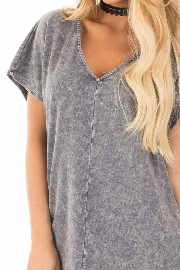 Charcoal V-Neck Loose Fit Mineral Wash Shift Dress detail