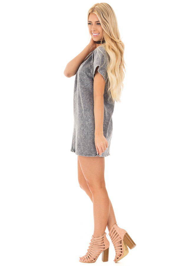 Charcoal V-Neck Loose Fit Mineral Wash Shift Dress side full body