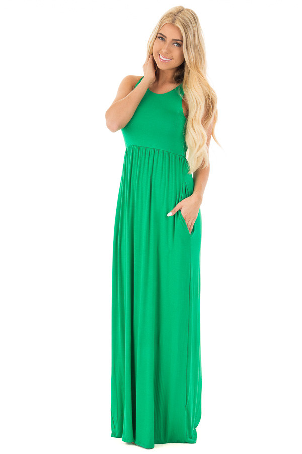 Emerald Jersey Racerback Tank Maxi Dress front full body