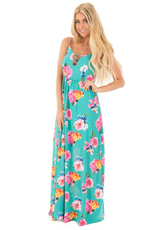 Jade Strappy V Neck Floral Maxi Dress with Side Slit Detail front full body