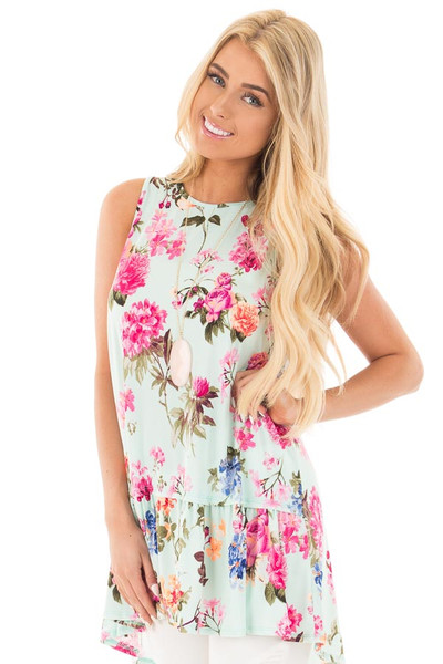 Mint Floral Sleeveless Mini Swing Dress front close up