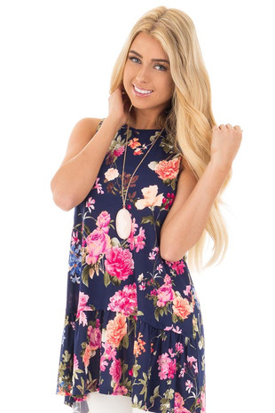 Navy Floral Sleeveless Mini Swing Dress front close up