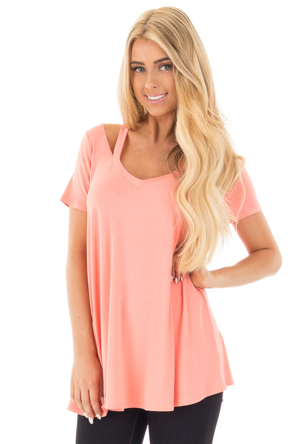 Coral Loose Fit V Neck Tunic Top with Cut Out Detail front close up