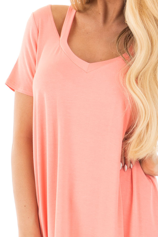 Coral Loose Fit V Neck Tunic Top with Cut Out Detail detail