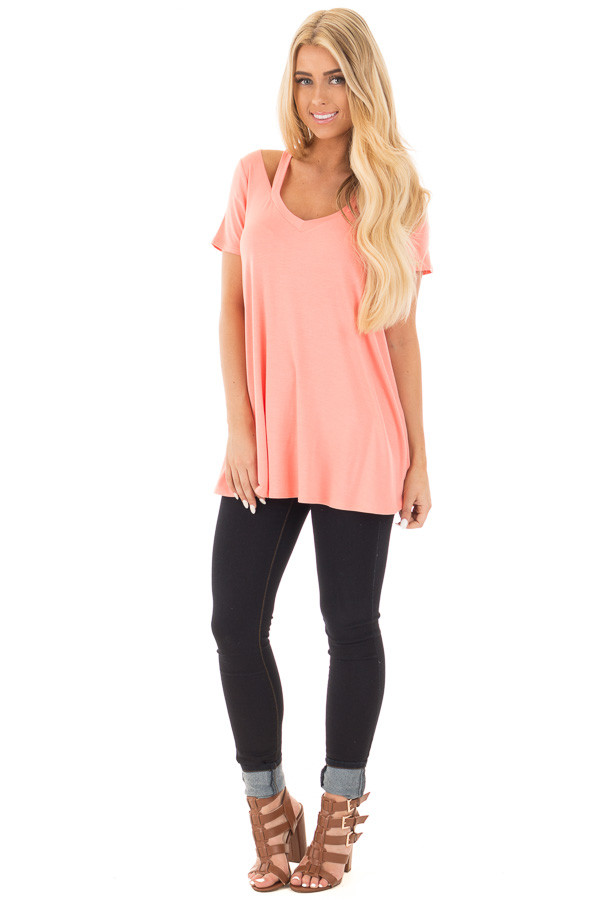 Coral Loose Fit V Neck Tunic Top with Cut Out Detail front full body