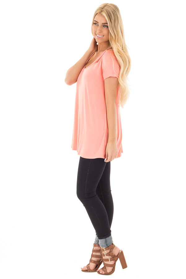 Coral Loose Fit V Neck Tunic Top with Cut Out Detail side full body