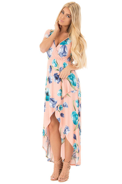 Blush Floral Cap Sleeve High Low Maxi Dress front full body