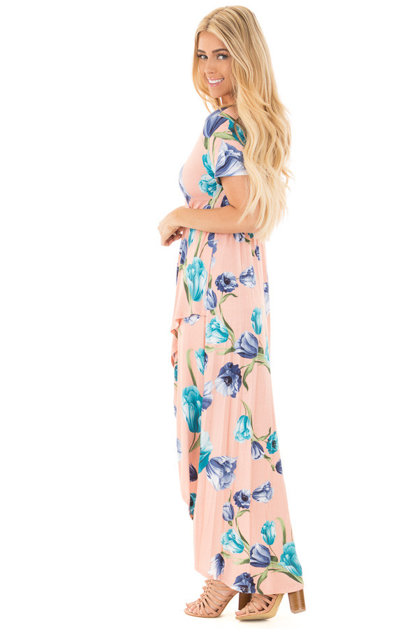 Blush Floral Cap Sleeve High Low Maxi Dress side full body