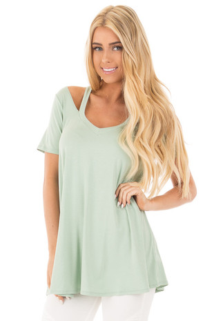 Sage Loose Fit V Neck Tunic Top with Cut Out Detail front close up