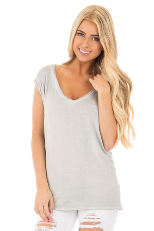 Grey Mineral Wash Soft V Neck Tee front close up