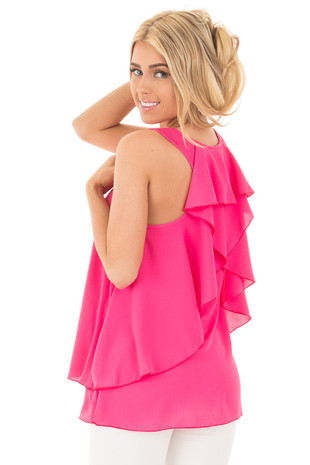 Bright Pink Racerback Ruffle Tank back side close up