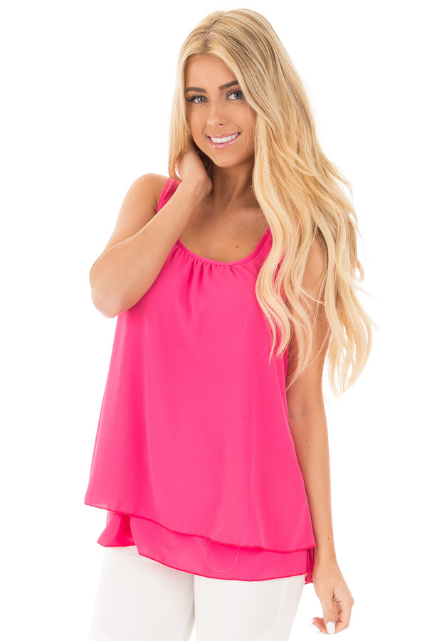 Bright Pink Racerback Ruffle Tank front close up