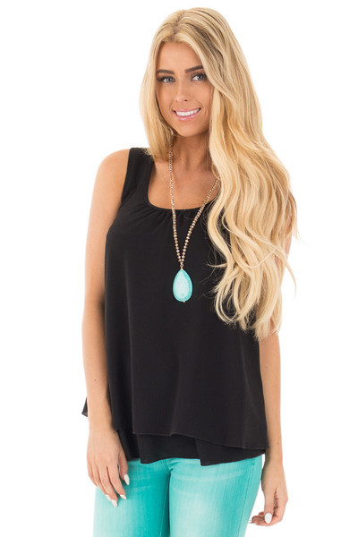 Black Racerback Ruffle Tank front close up