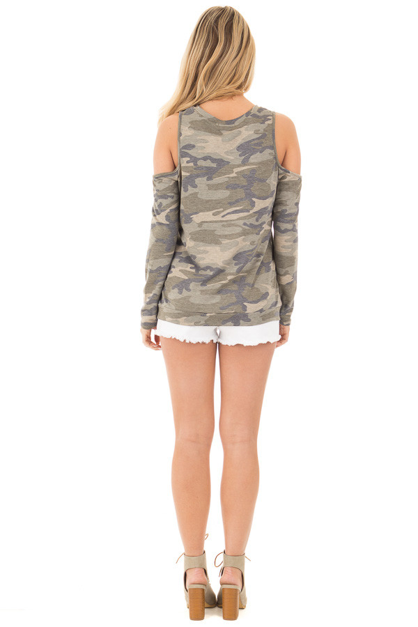 Camouflage Cold Shoulder French Terry Knit Top back full body