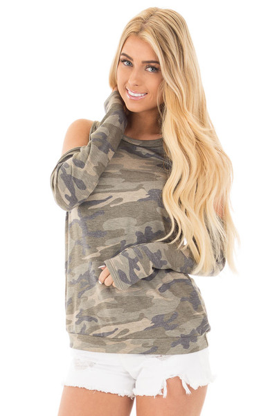 Camouflage Cold Shoulder French Terry Knit Top front close up