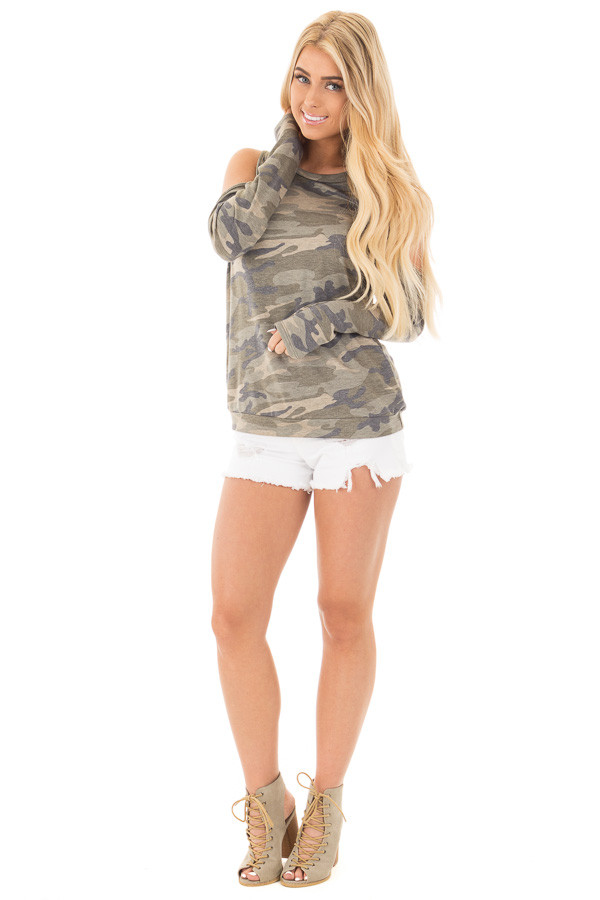 Camouflage Cold Shoulder French Terry Knit Top front full body