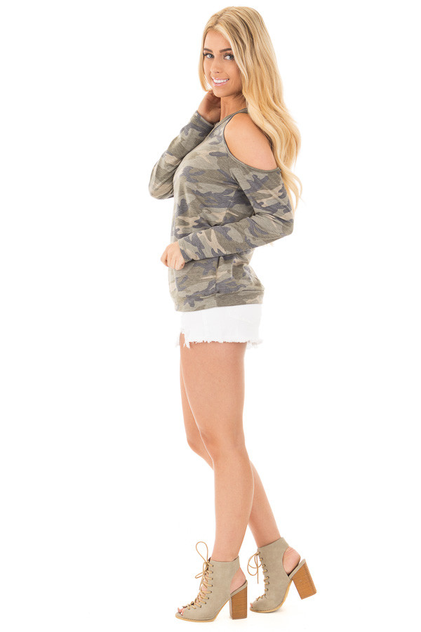 Camouflage Cold Shoulder French Terry Knit Top side full body