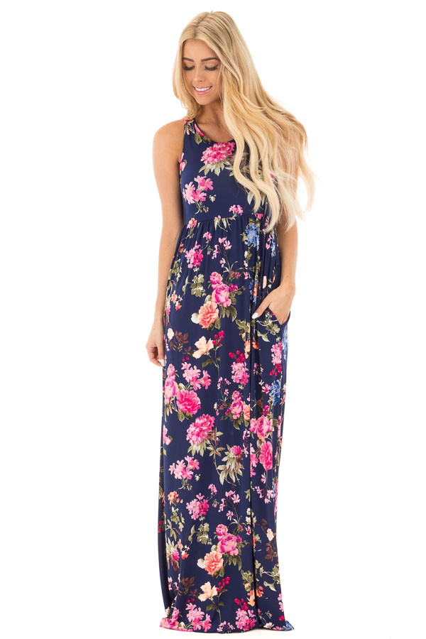 Navy Racerback Floral Maxi Dress with Side Pockets front full body