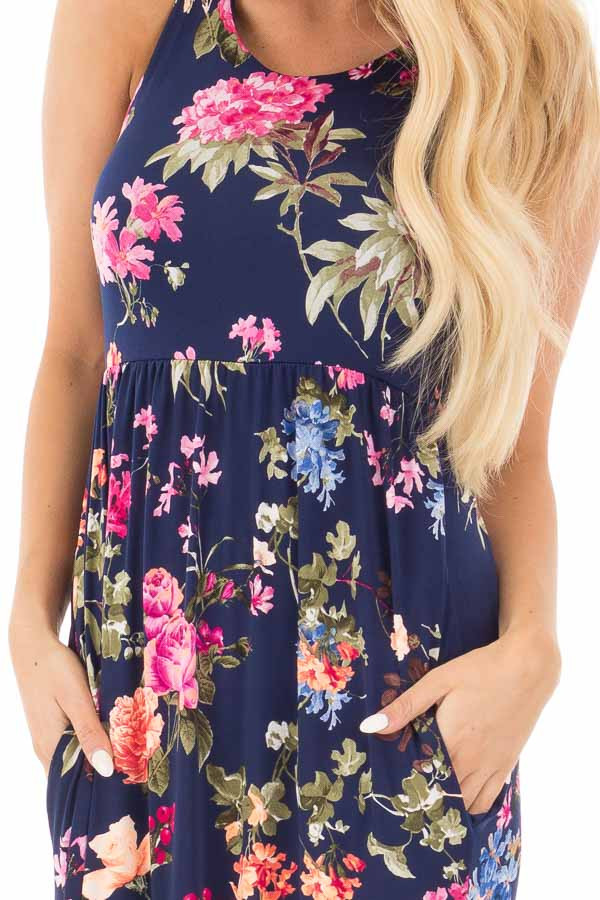 Navy Racerback Floral Maxi Dress with Side Pockets detail