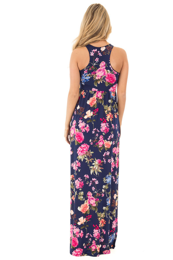 Navy Racerback Floral Maxi Dress with Side Pockets back full body