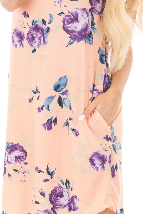Blush Floral Cap Sleeve Dress with Side Pockets detail