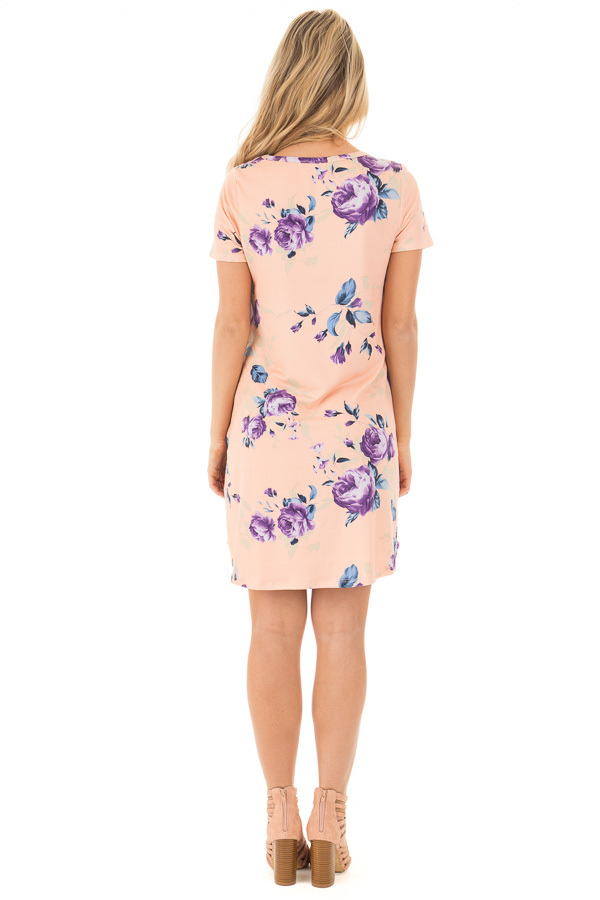 Blush Floral Cap Sleeve Dress with Side Pockets back full body