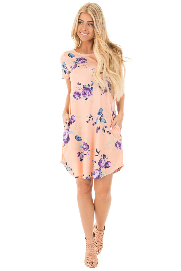 Blush Floral Cap Sleeve Dress with Side Pockets front full body