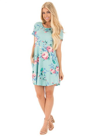 Mint Floral Cap Sleeve Dress with Side Pockets front full body