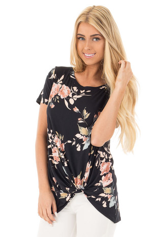 Black and Peach Floral Print Tee with Twist Detail front close up