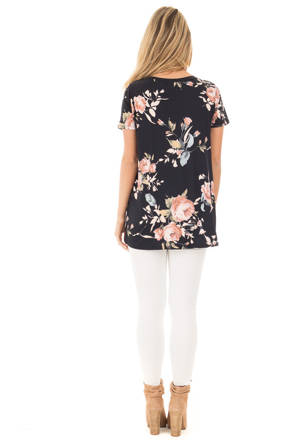 Black and Peach Floral Print Tee with Twist Detail back full body