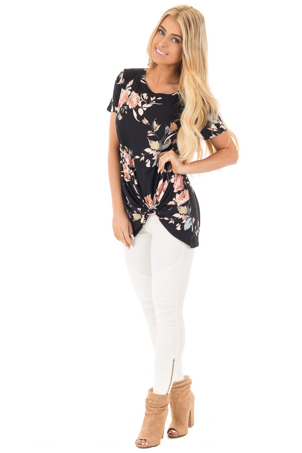 Black and Peach Floral Print Tee with Twist Detail front full body