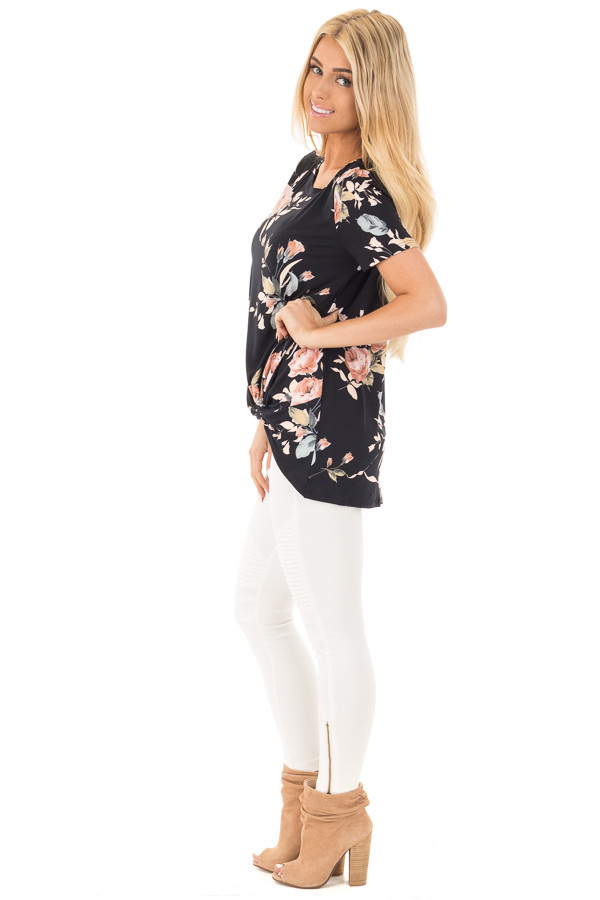 Black and Peach Floral Print Tee with Twist Detail side full body
