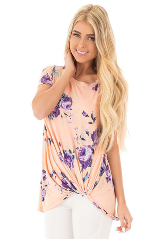 Blush and Purple Floral Print Tee with Twist Detail front close up