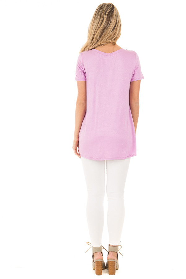 Lavender Cap Sleeve with Twisted Knot Top back full body