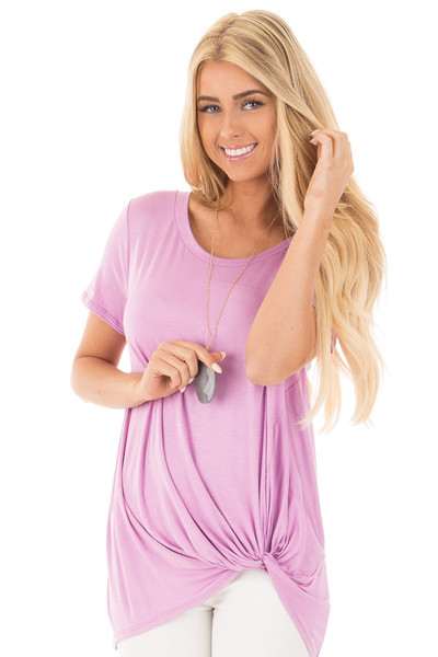 Lavender Cap Sleeve with Twisted Knot Top front close up