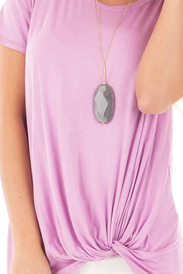 Lavender Cap Sleeve with Twisted Knot Top detail