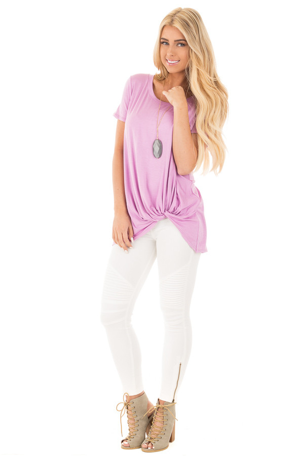 Lavender Cap Sleeve with Twisted Knot Top front full body