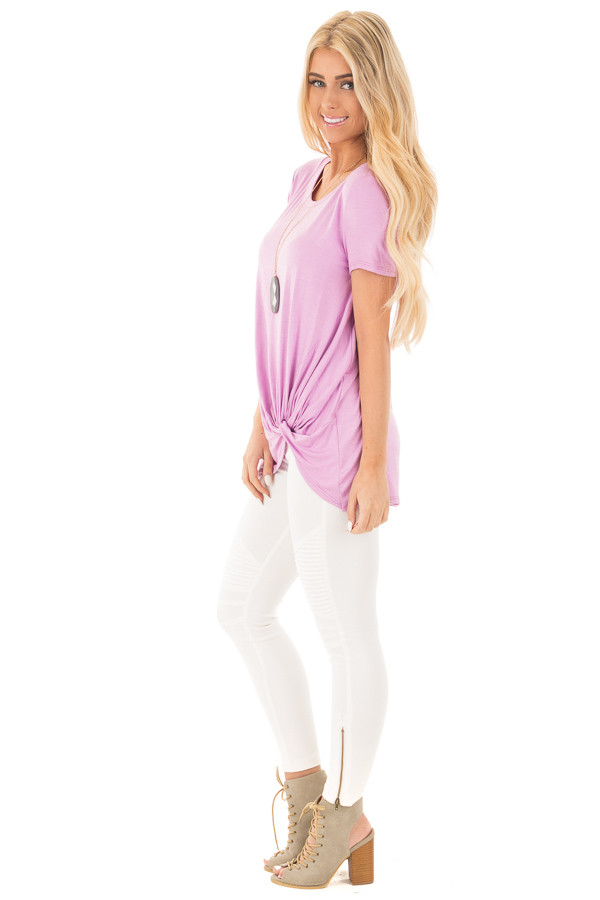 Lavender Cap Sleeve with Twisted Knot Top side full body