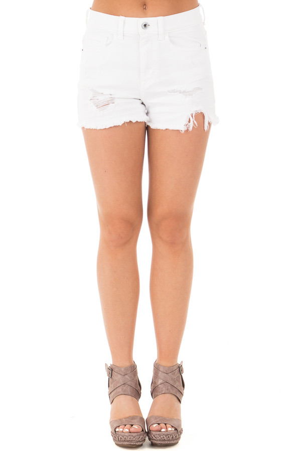 White High Rise Distressed Shorts with Unfinished Hem front view